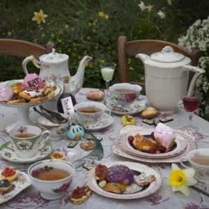 """From 'Fictitious Feasts', work about food scenes in literature. Here the mad tea marty with the Hatter and the Hare, from the English novels """"Alice's adventures in Wonderland"""" and """"Through the Looking-Glass"""" by Lewis Carroll."""